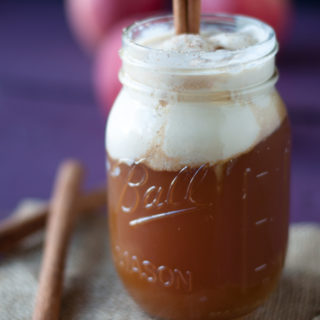 The perfect fall beverage: Apple Cider Floats. Warm apple cider is topped with cold ice cream. Yummm!!