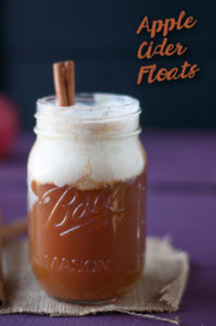 Apple Cider Floats combine warm apple cider and cold ice cream. A refreshing fall beverage! #fall #vegan