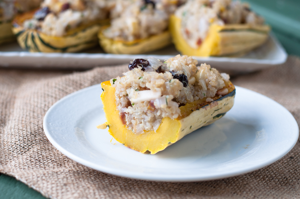 Apple Quinoa Stuffed Delicata Squash is a perfect option for your holiday table this year. It's naturally vegan + gluten-free and even omnivores will enjoy it