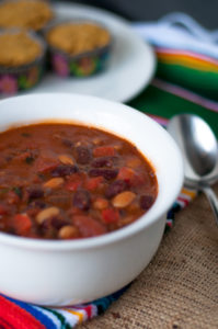 Vegan Bean Chili made with pantry staples. Perfect for fall! #vegan #glutenfree