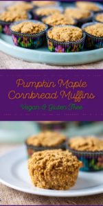 Fall inspired cornbread muffins. Pumpkin keeps these muffins moist while maple syrup adds a touch of sweetness. Perfect for a snack or served alongside a warm bowl of chili. #pumpkin #vegan