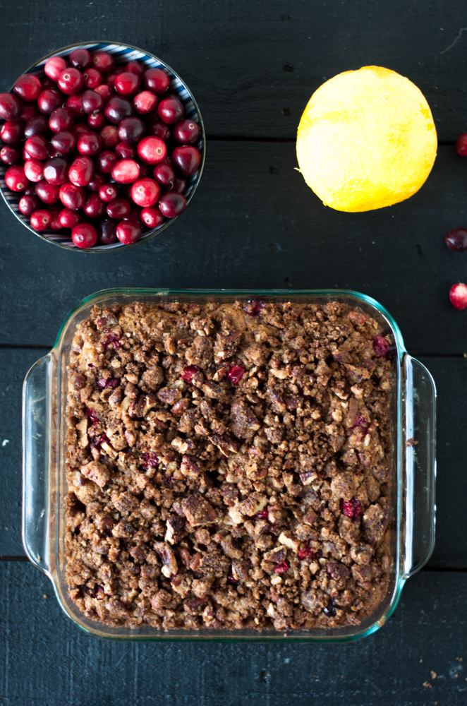 Vegan Cranberry Coffee Cake is perfect for a fall weekend morning. It's easy enough to whip up for holiday entertaining. #vegan #Thanksgiving
