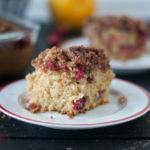 This Vegan Cranberry Coffee Cake is perfect for holiday baking and entertaining. It's easy to make and bursting with fall flavor! #vegan #thanksgiving