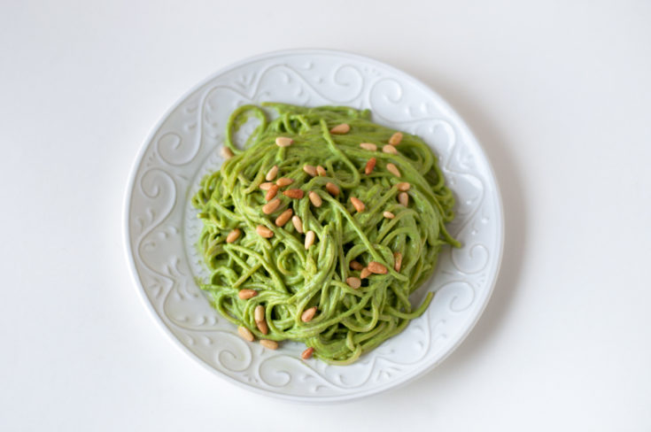 Vegan Cilantro Pesto Spaghetti