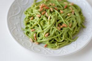 Vegan Cilantro Pesto Spaghetti: a quick and easy weeknight dinner! #vegan #dinner