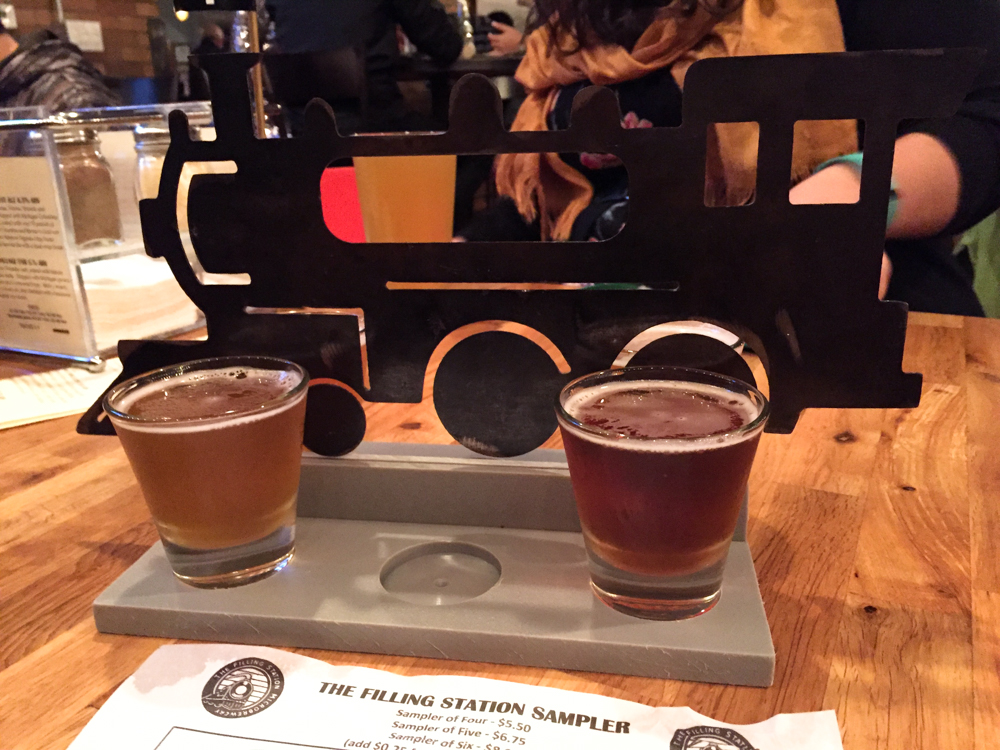 Beer sample at The Filling Station Microbrewery in Traverse City, MI