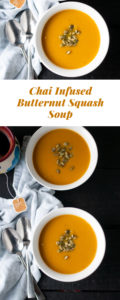 Chai tea infused so much robust flavor to a creamy, roasted butternut squash soup. Naturally vegan + gluten-free