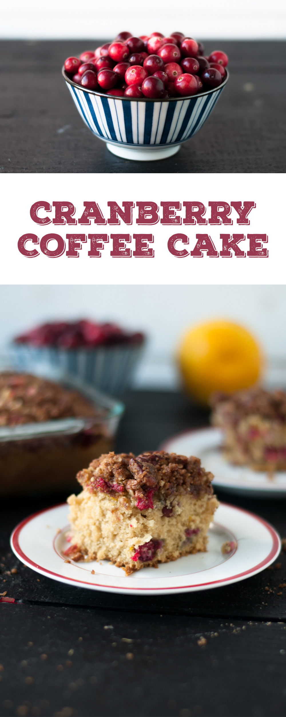 Fresh cranberries and orange zest add a seasonal twist to vegan coffee cake. Perfect for fall or Thanksgiving. #fall #thanksgiving