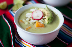 Butternut Squash Green Pozole. A Vegan take on classic Mexican Pozole Verde.