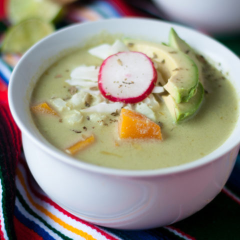 Butternut Squash Green Pozole: a vegan spin of a traditional Mexican recipe.