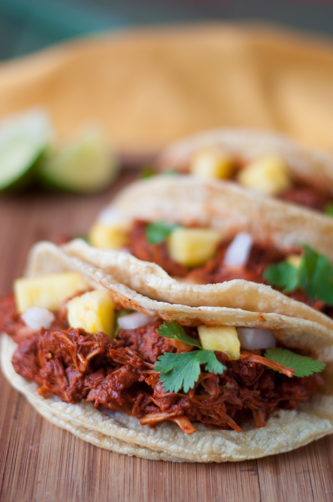 Jackfruit is simmered in a rich, flavorful Mexican chile sauce inspired by street tacos. #vegan #mexican