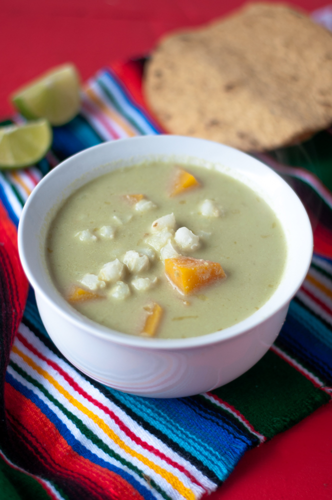 Vegan Butternut Squash Pozole Verde. A hearty Vegan version of traditional Mexican pozole.