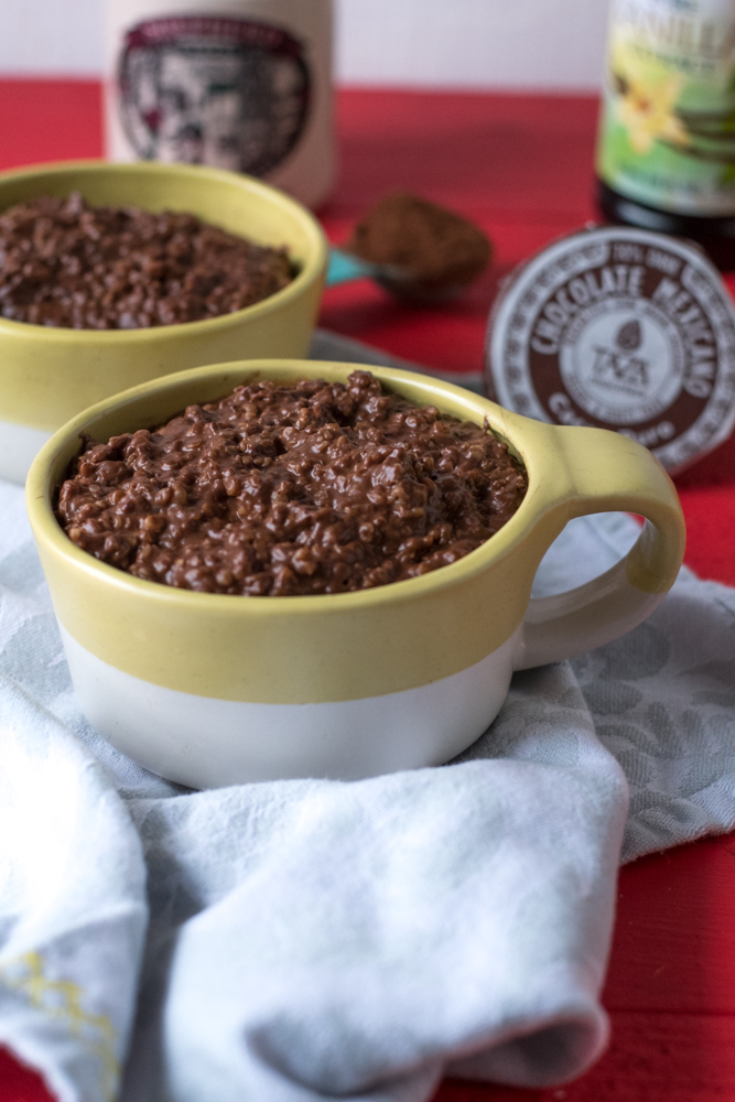 Rich, chocolatey oatmeal made with two types of chocolate. This oatmeal also reheats beautifully. Make a batch on the weekend and enjoy throughout the week! #breakfast