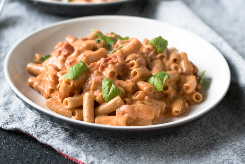 Completely dairy free, but this sauce is ultra smooth and creamy from cashews. This Creamy Penne alla Vodka is also perfect for serving on a cozy date night at home.