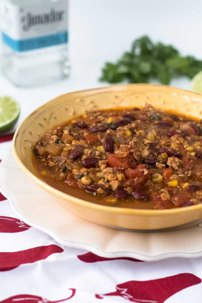 Vegan Tofu Tequila Chili is packed full of meatless protein. Perfect make ahead meal.