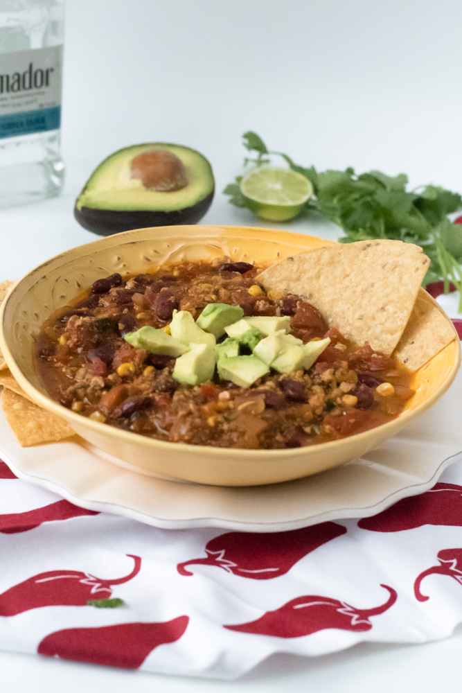 Vegan Tofu Tequila Chili is perfect for game day. It's packed full of plant based protein. Tequila gives this chili a little something extra! #chili #gameday
