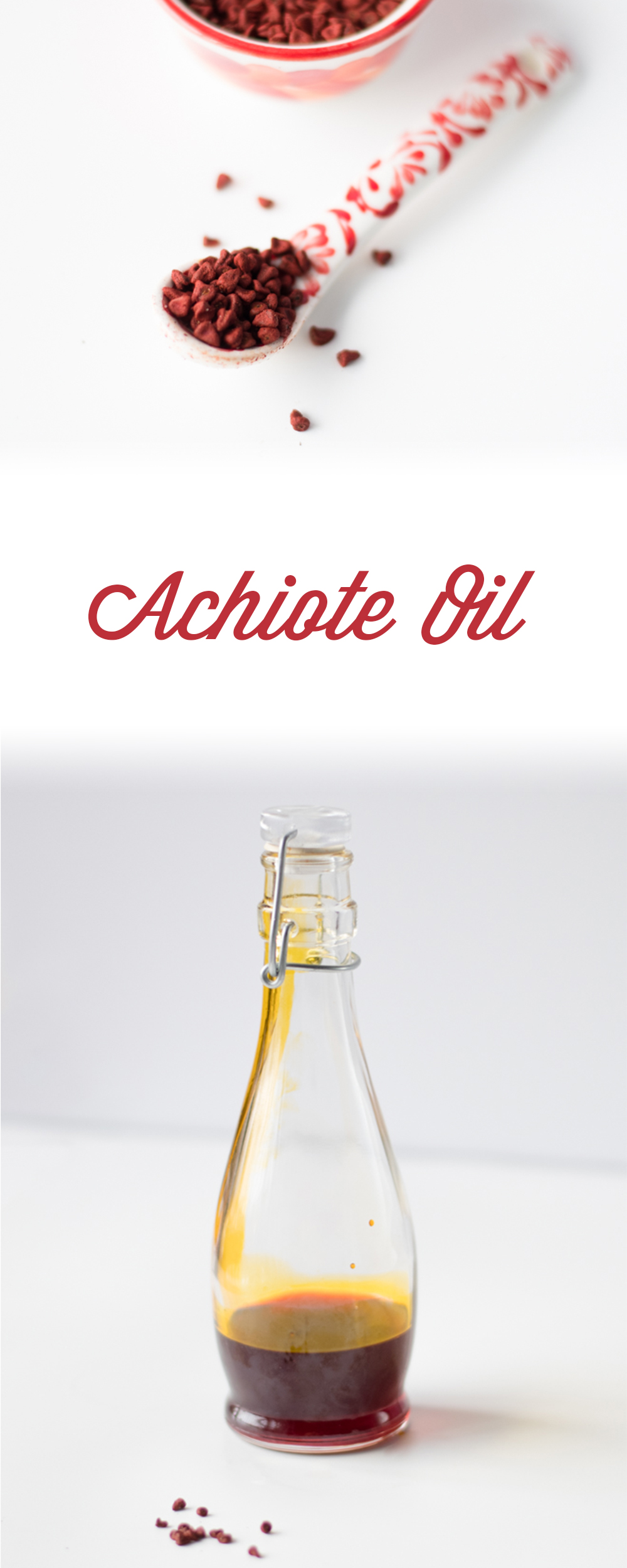 Guide on how to make achiote oil from annatto seeds. A popular oil in Latin American cuisine. It gives an unique color and flavor to recipes.