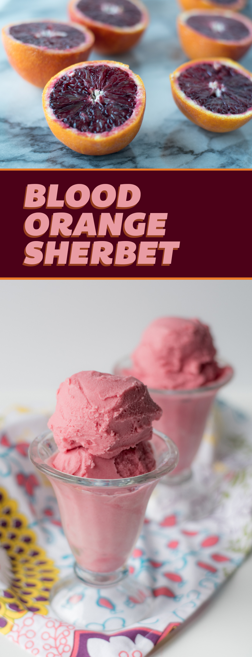 The creamy Blood Orange Sherbet would make for a refreshing treat for Valentine's Day! It's creamy, smooth and the perfect balance for sweet and tart. Naturally Vegan + Glutenfree!