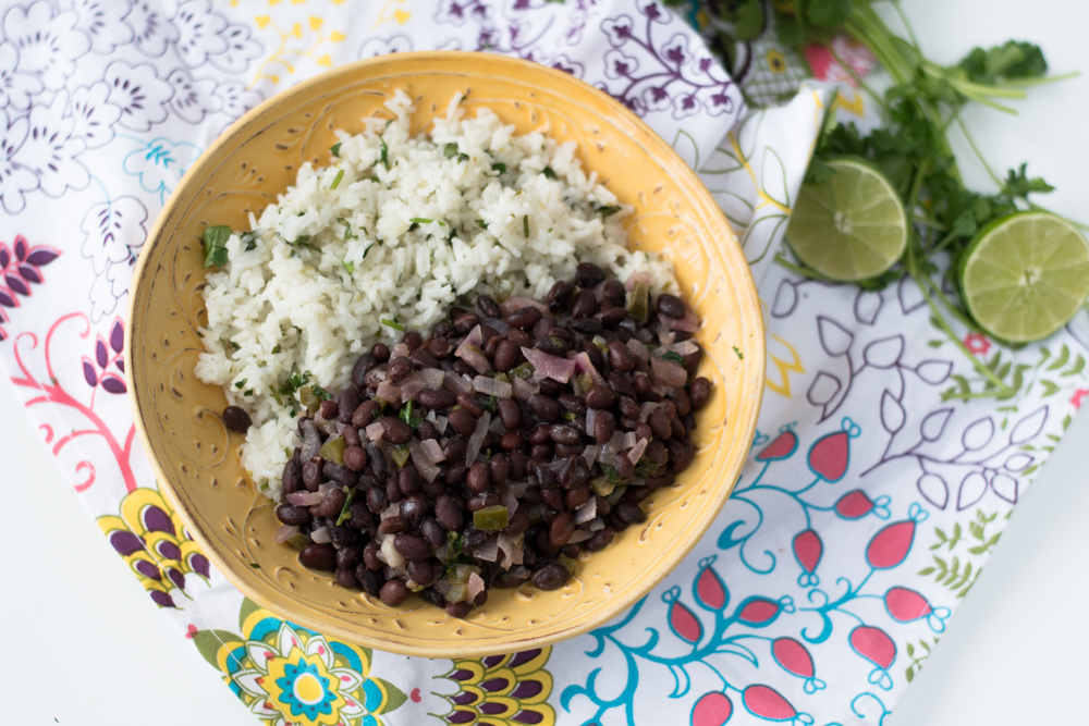 Vegan Burrito Bowls with Cilantro Lime Rice, black beans and lots of avocado! #vegan