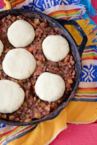 Lentil Picadillo Arepa Casserole. #vegan #glutenfree