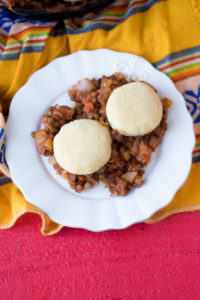 Lentil picadilllo topped with light tender biscuits. #budget-friendly #vegan