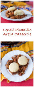 Vegan & Gluten-Free Lentil Picadillo Arepa Casserole. Lentil picadillo is topped with light, tender biscuits. Perfect one pan dinner!
