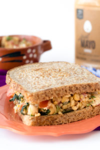 Quick and easy Mexican Chickpea Salad Sandwich. Packed full of plant protein for a filling and satisfying lunch. #vegan #mexican