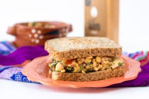 Mexican Chickpea Salad Sandwich: a quick & easy vegan lunch option. #vegan #sandwich