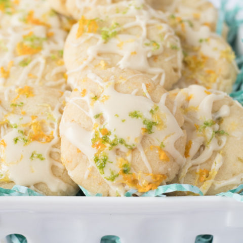 These Vegan Citrus Cookies are bursting with fresh citrus. Fresh lemon, orange, and lime juice and zest make these sugar cookies pop with flavor. Perfect for a springtime treat or easter! #easter