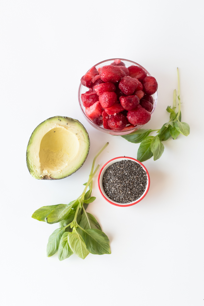 This Strawberry Lemon Basil Smoothie is perfect anytime of day. It's creamy from the ripe avocado and the lemon basil adds a floral herb note that is just divine.