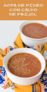 Mexican Sopa de Fideo con Caldo de Frijol uses the cooking broth from dried pinto beans to add flavor and nutritious to this easy, budget-friendly recipes.