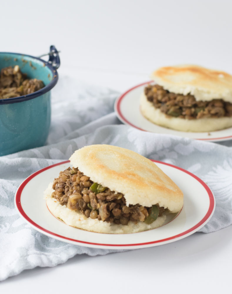 Lentils make a great vegetarian filling. They are packed full of protein and nutrients. This lentil filling makes a satisfying vegan arepa!