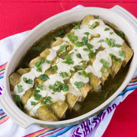 Vegan Potato and Roasted Poblano Enchiladas. Corn tortillas are filled with a potato & poblano peppers. #vegan #mexican