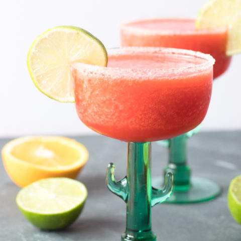 These sweet fruity Frozen Strawberry Margaritas are perfect for summer entertaining.