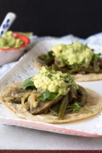 Mushroom and Poblano Fajitas make for a filling, quick dinner! Serve with fresh guacamole!