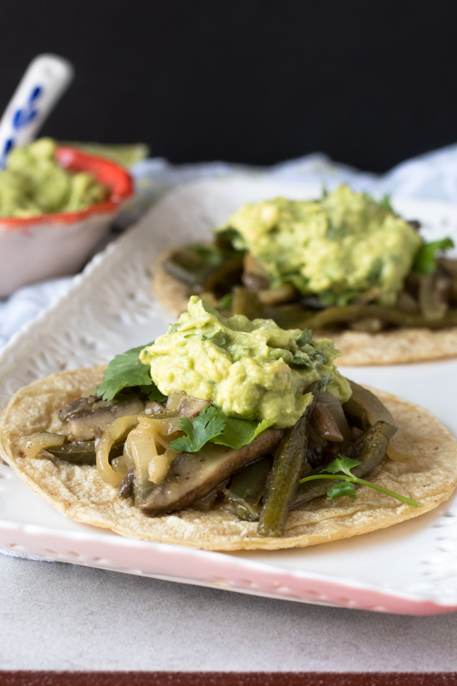 Portobella Mushroom and Poblano Fajitas make for a filling, quick dinner! Serve with fresh guacamole!