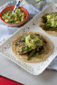 Portobella mushrooms and poblano peppers are marinated in a flavorful citrus marinate. Serve these fajitas with a big scoop of guacamole and a big squeeze of lime juice.