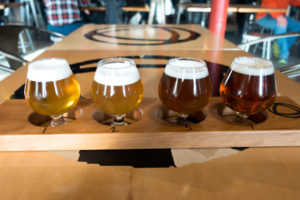A beer flight at the Workshop Brewery in Traverse City, Michigan