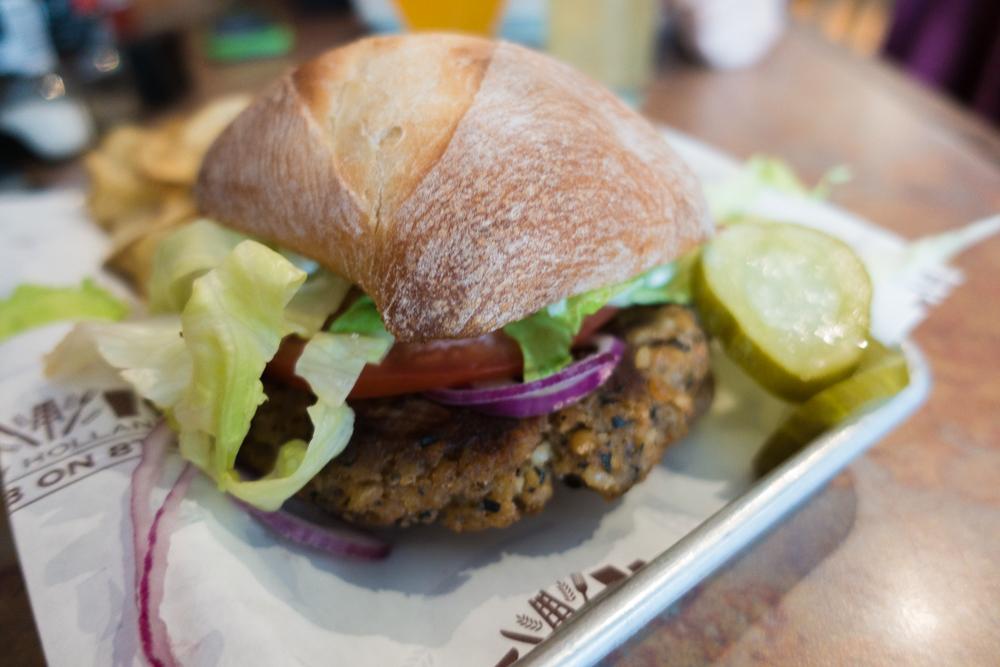 Black Bean Spelt Burger from New Holland Brewery