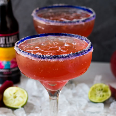 These Rhubarb Beer Margaritas aka Rhubaritas are the perfect summer drink. They are fruit, sweet, and refreshing!