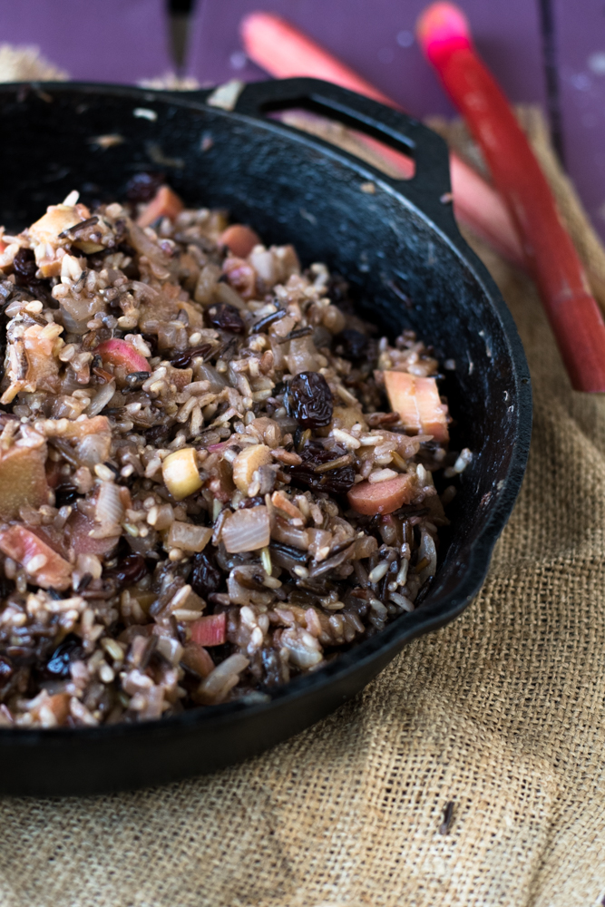 This wild rice pilaf with rhubarb, dried cherries and cashews make a wonderful side dish. It's naturally sweetened with just a touch of maple syrup.