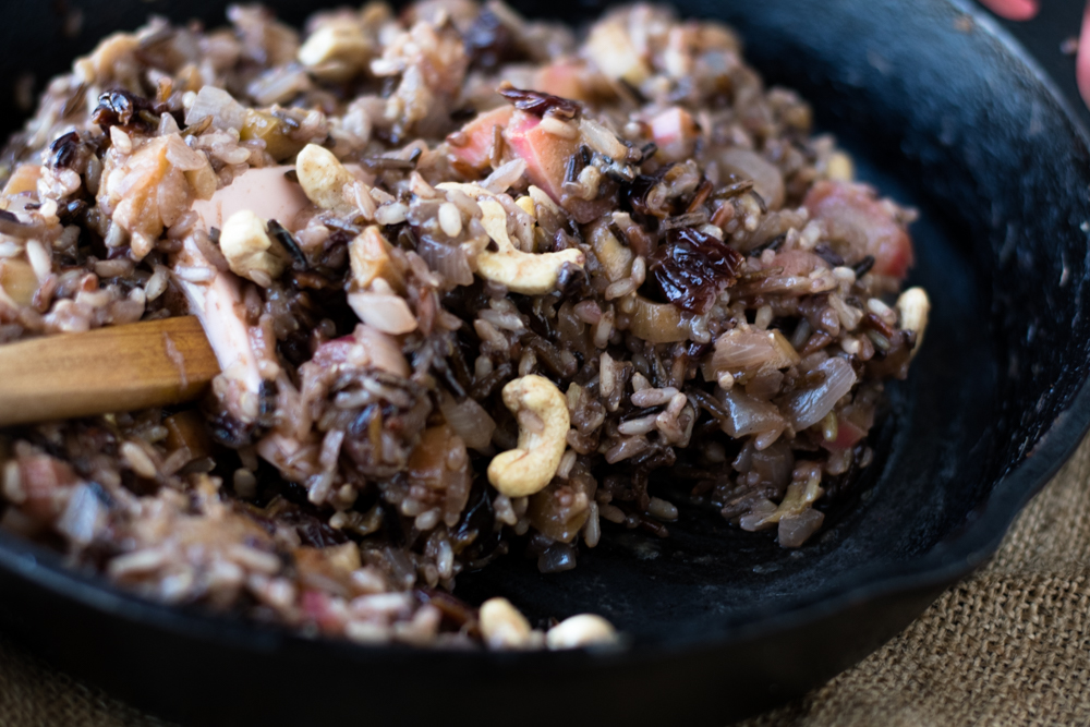 Rhubarb Wild Rice Pilaf with dried cherries is a