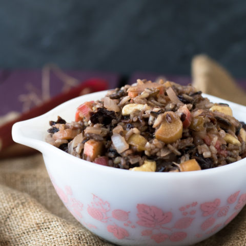 Rhubarb isn't only for sweet desserts. It can be used in savory dishes like this Rhubarb Wild Rice Pilaf.