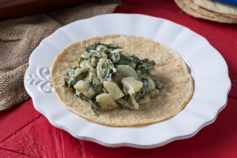 Creamy rich and satisfying swiss chard and potato tacos.