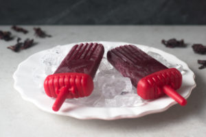 Treat yourself with a cold Rhubarb Hibiscus Paleta this summer! They are easy to make and only require 4 ingredients!
