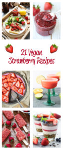 Strawberry season is finally here! To celebrate the season, I have complied an amazing vegan strawberry recipe round-up! From drinks to desserts, you are going to love these strawberry recipes! Take advantage of strawberry season with these Vegan Strawberry Recipes.