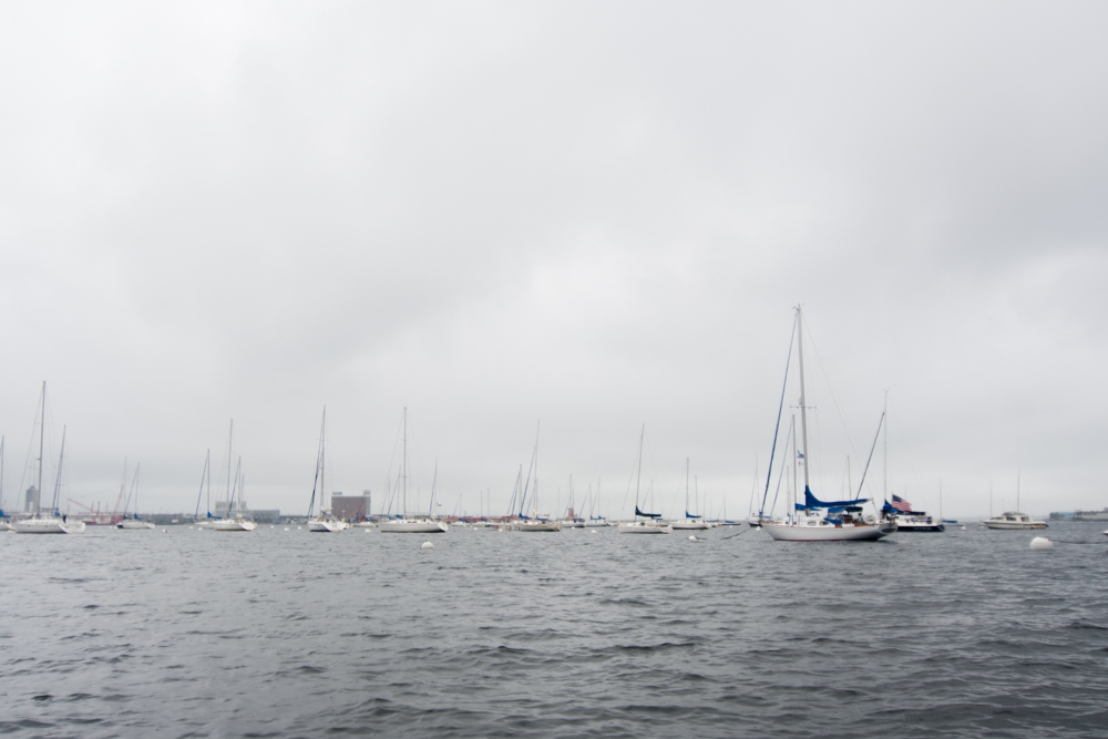 Boats along Boston Harbor