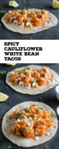 These Spicy Cauliflower and White Beans Tacos are so flavorful! Arbol chiles give these tacos a spicy kick! They are quick & easy to make too!