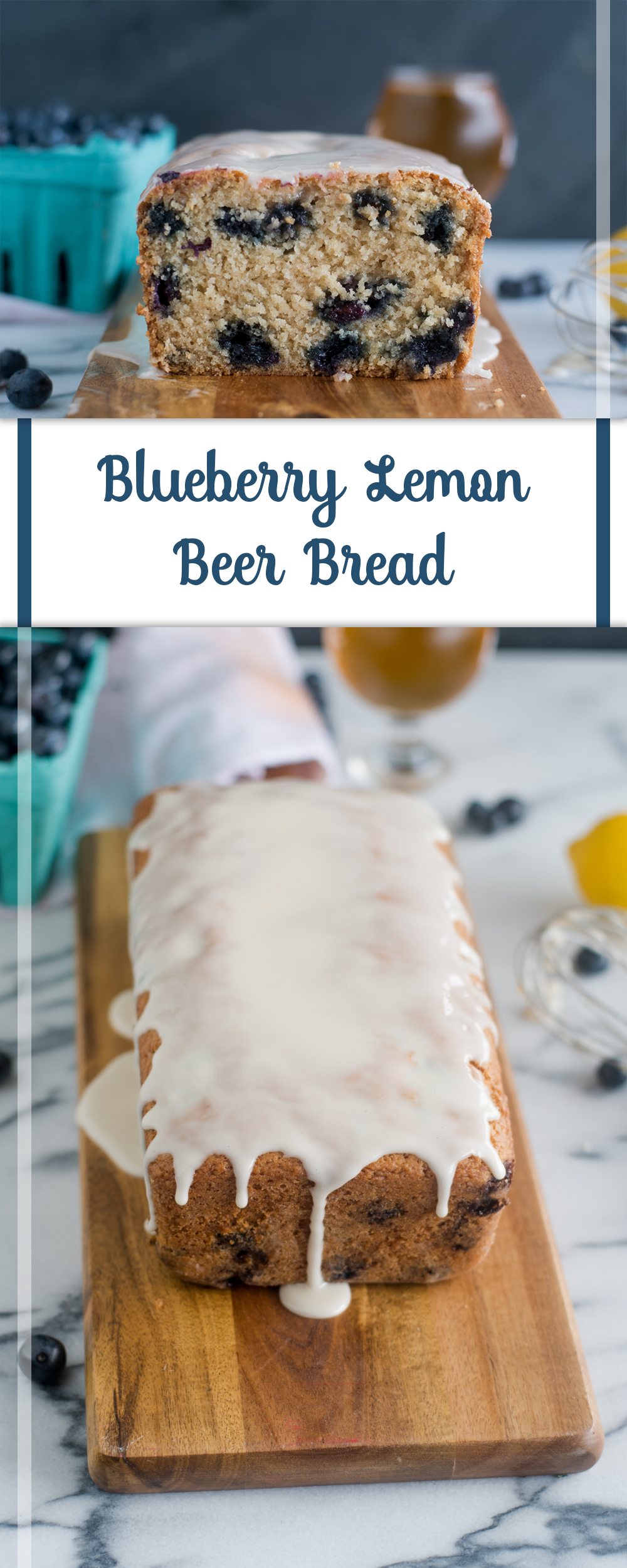 Blueberry Lemon Beer Bread topped with a lemon glaze. It is light, tender and citrusy.