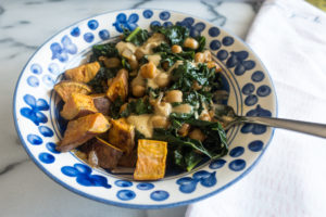 Smoky Kale and Chickpeas with Miso Peanut Drizzle is a quick and delicious recipe from Bold Vegan byCeline Steen.